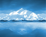 montagnes et lac dans ambiance bleu