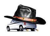 voiture cow-bow au chapeau noir poster