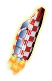 voiture fusée aux couleurs de tintin poster
