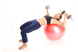 fitball dumbell press 1 poster