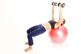fitball dumbell press 2 poster