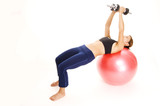 fitball dumbbell flyes poster