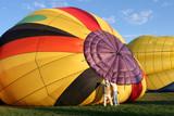 hot air balloon - preparing for flight poster