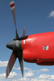 red aircraft engine poster