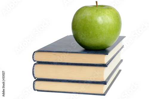 poster of books and green apple