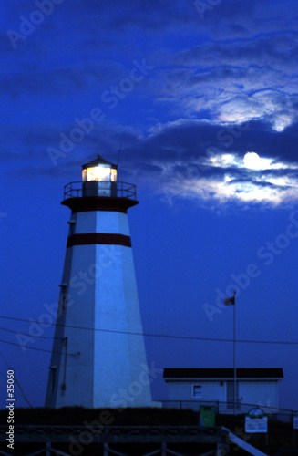 poster of cape ray lighthouse by moonlight