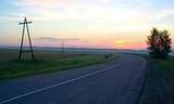 road in sunrise poster