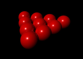 red balls in the shape of a snooker triangle