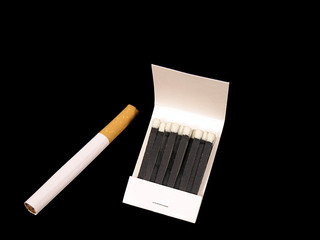 cigarette and matchbook