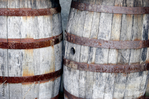 wooden barrels (two)