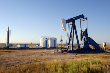 oil well and storage tanks