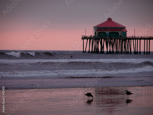 huntington beach pier, califoria at sunset