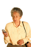 eldery woman texting poster