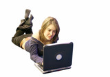 girl using laptop poster