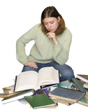 student girl reading on the heap of books poster