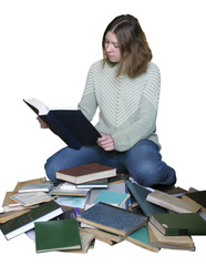 girl the heap of books