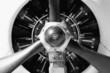 old aircraft engine - abstract frontal in b&w