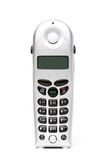 cordless phone over white poster