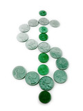 green dollar sign made from coins poster