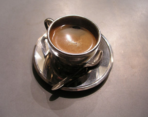 silver cup of coffee