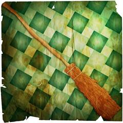 halloween witch broom degraded