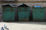 three garbage bins poster