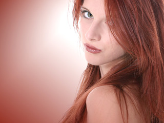 close up of beautiful seventeen year old redhead t
