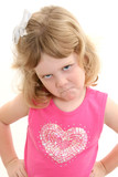 adorable 4 year old girl pouting with hands on hip poster