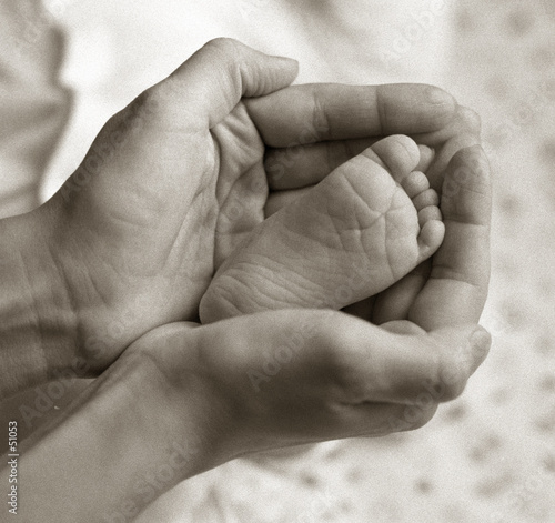 foot of newborn baby, bw