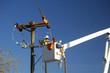 Leinwanddruck Bild - electric utility lineman