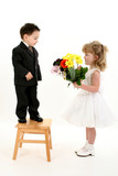 boy surprising girl with flowers poster