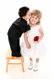boy giving pretty girl a kiss poster
