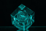 glass cube on dark backgroud poster