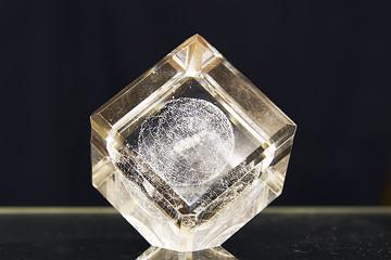 glass cube on dark backgroud