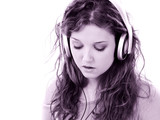 beautiful teen girl with headphones and laptop poster