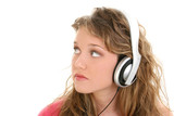 beautiful teen girl listening to headphones poster