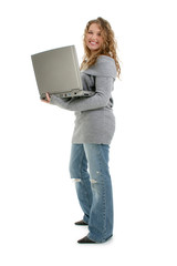 beautiful sixteen year old teen girl with laptop c