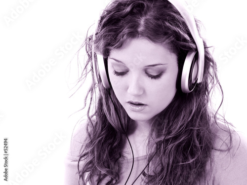 poster of beautiful teen girl with headphones and laptop