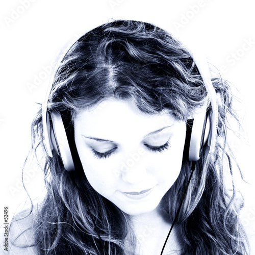 poster of  beautiful teen girl listening to headphones