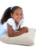 beautiful six year old girl in pajamas over white poster