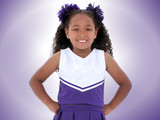 beautiful six year old cheerleader over purple poster