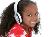 adorable six year old girl wearing headphones poster