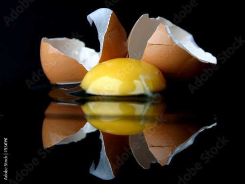 close-up of a broken egg