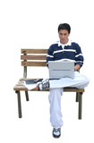casual guy using laptop