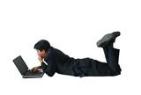 business man laptop - floor ar poster