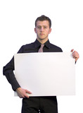 business man holding a white card poster