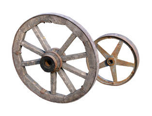 wheels of telega on white