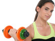 beautiful teen girl holding colorful weights