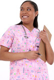 beautiful pediatric nurse in scrubs poster