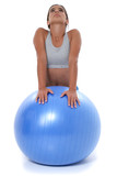 beautiful teen girl stretching on exercise ball poster